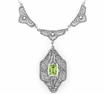 Art Deco Filigree Peridot Dangle Drop Pendant Necklace in Sterling Silver