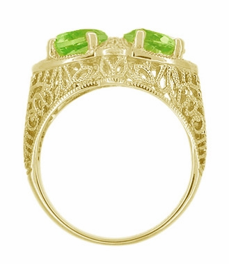 Art Deco Filigree Peridot Loving Duo Ring in 14 Karat Yellow Gold - Item R1129YPER - Image 1