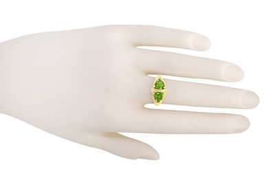Art Deco Filigree Peridot Loving Duo Ring in 14 Karat Yellow Gold - Item R1129YPER - Image 3