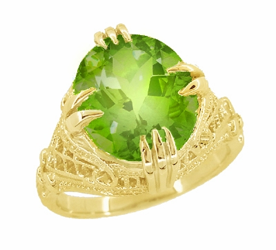 Art Deco Filigree Peridot Statement Ring in 14 Karat Yellow Gold - Item R157YPER - Image 1