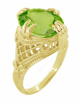 Art Deco Filigree Peridot Statement Ring in 14 Karat Yellow Gold - Item R157YPER - Image 2
