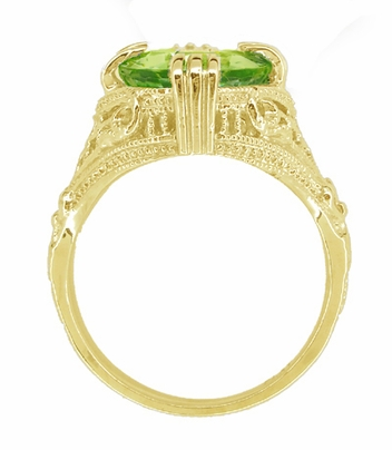 Art Deco Filigree Peridot Statement Ring in 14 Karat Yellow Gold - Item R157YPER - Image 3