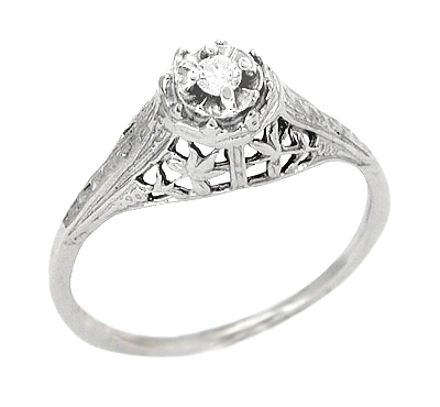 Art Deco Filigree Petite Diamond Ring in 14 Karat White Gold