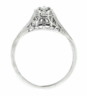 Art Deco Filigree Petite Diamond Ring in 14 Karat White Gold - Item R204 - Image 1