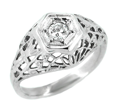 Art Deco Cornfield Domed Filigree Platinum and Diamond Engagement Ring - 1930's Vintage