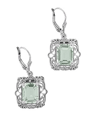Art Deco Filigree Prasiolite Green Amethyst Drop Earrings in Sterling Silver