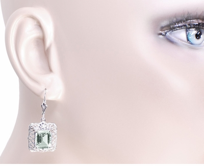Art Deco Filigree Prasiolite Green Amethyst Drop Earrings in Sterling Silver - Item E154GA - Image 2
