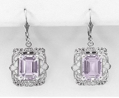 Art Deco Filigree Rose de France Amethyst Drop Earrings in Sterling Silver - Item E154RF - Image 1