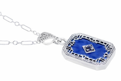Art Deco Filigree Royal Blue Sun Ray Crystal Pendant Necklace with Sapphire and Diamond in Sterling Silver - Item N185DB - Image 1
