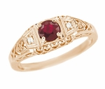 Art Deco Filigree Ruby and Diamond Engagement Ring in 14 Karat Rose Gold