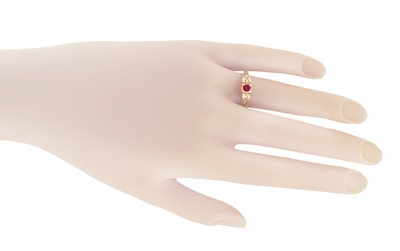 Art Deco Filigree Ruby and Diamond Engagement Ring in 14 Karat Rose Gold - Item R227R - Image 2