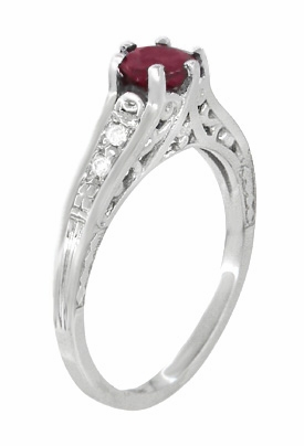 Art Deco Filigree Ruby Promise Ring in Sterling Silver with Side White Sapphires - Item SSR158R - Image 1
