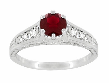 Art Deco Filigree Ruby Promise Ring in Sterling Silver with Side White Sapphires - Item SSR158R - Image 3