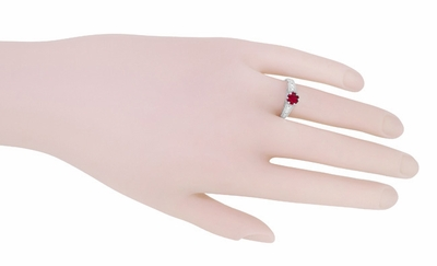 Art Deco Filigree Ruby Promise Ring in Sterling Silver with Side White Sapphires - Item SSR158R - Image 5