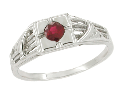 Art Deco Windsails Filigree Ruby Ring in 14K White Gold
