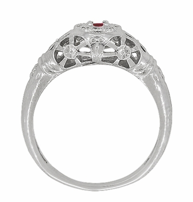 Art Deco Filigree Ruby Ring in 14 Karat White Gold - Item R698 - Image 3