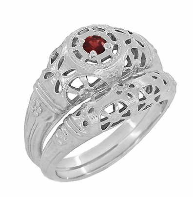 Art Deco Filigree Ruby Ring in 14 Karat White Gold - Item R698 - Image 4