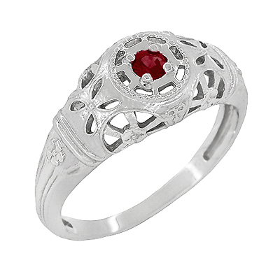 Art Deco Filigree Ruby Ring in Platinum
