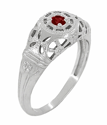Art Deco Filigree Ruby Ring in Platinum - Item R698P - Image 1