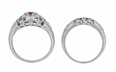 Art Deco Filigree Ruby Ring in Platinum - Item R698P - Image 8