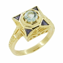 Art Deco Filigree Sapphire and Blue Topaz Ring in 14 Karat Yellow Gold
