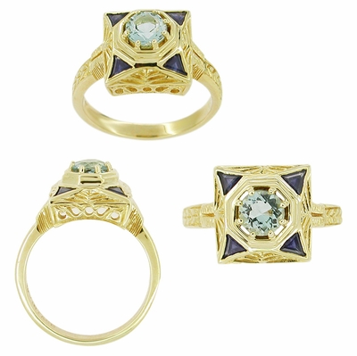 Art Deco Filigree Sapphire and Blue Topaz Ring in 14 Karat Yellow Gold - Item RV759 - Image 1
