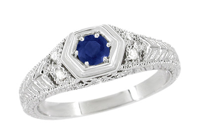 Art Deco Antique Inspired Filigree Sapphire and Diamond Engagement Ring in 14 Karat White Gold | Carved Low Profile Ring
