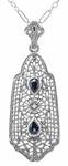 Art Deco Filigree Sapphire and Diamond Pendant Necklace in Sterling Silver