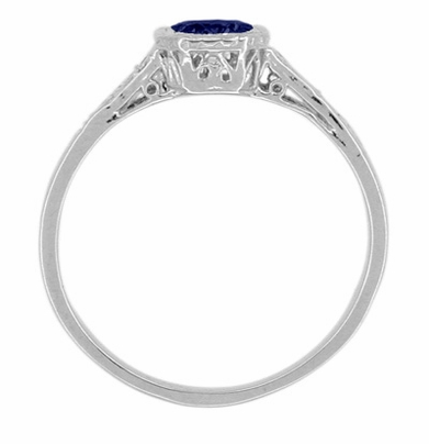 Art Deco Filigree Sapphire and Diamond Platinum Engagement Ring - Item R298S - Image 1