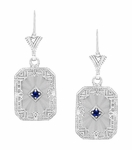 Art Deco Filigree Sapphire and Diamond Set Crystal Earrings in 14 Karat White Gold