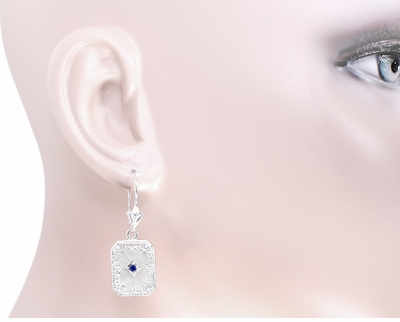 Art Deco Filigree Sapphire and Diamond Set Crystal Earrings in 14 Karat White Gold - Item E155WG - Image 2