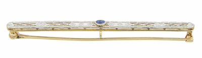 Art Deco Filigree Sapphire Antique Krementz Brooch in 14 Karat Gold - Item BR172 - Image 1