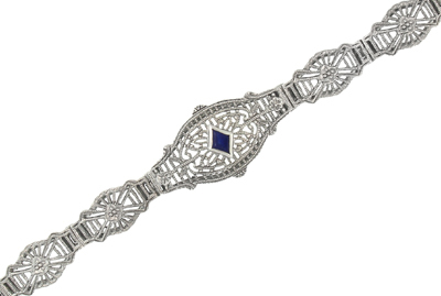 Art Deco Filigree Sapphire Bracelet in 14 Karat White Gold