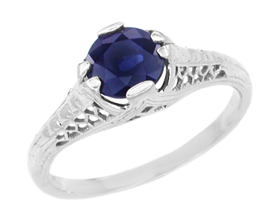 Art Deco Filigree Sapphire Engagement Ring in Platinum