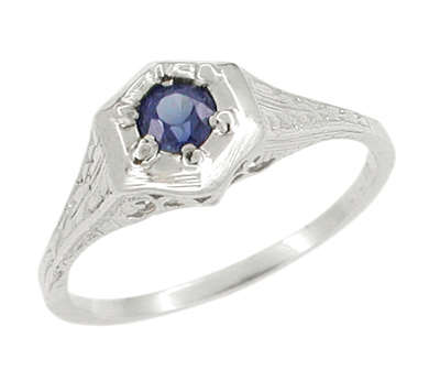 Art Deco Filigree Sapphire Ring in 14 Karat White Gold
