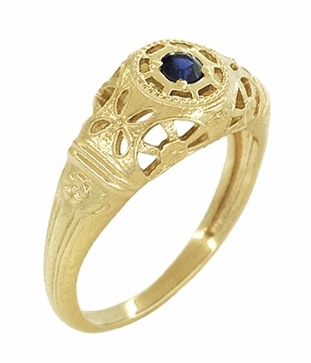 Art Deco Filigree Sapphire Ring in 14 Karat Yellow Gold - Item R335Y - Image 1