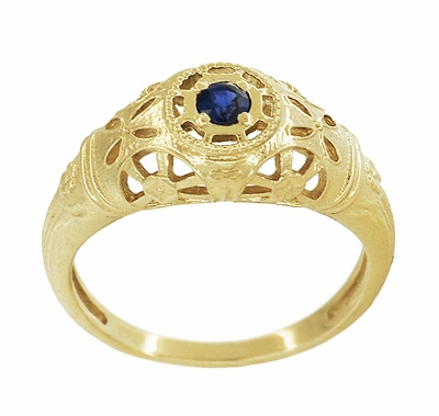 Art Deco Filigree Sapphire Ring in 14 Karat Yellow Gold - Item R335Y - Image 2