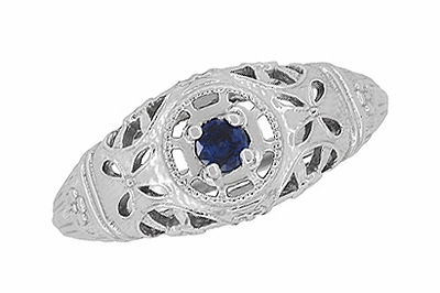 Art Deco Filigree Sapphire Ring in Platinum - Item R335P - Image 4