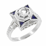 Art Deco Filigree Sapphires 1/2 Carat Diamond Engagement Ring in 14 Karat White Gold