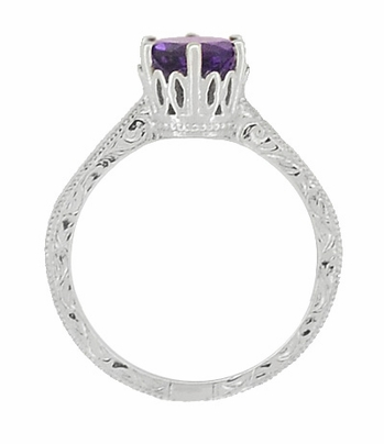 Art Deco Filigree Scroll Engraved Amethyst Crown Promise Ring in Sterling Silver - Item SSR199AM - Image 3