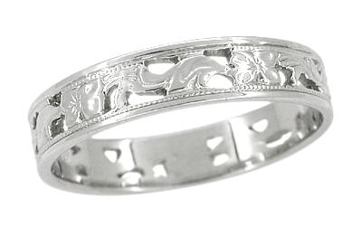 Art Deco Filigree Scrolls and Flowers Wedding Band in 14 Karat White Gold - Size 7 1/4