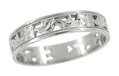 Art Deco Filigree Scrolls and Flowers 4mm Platinum Wedding Band | Size 7.25