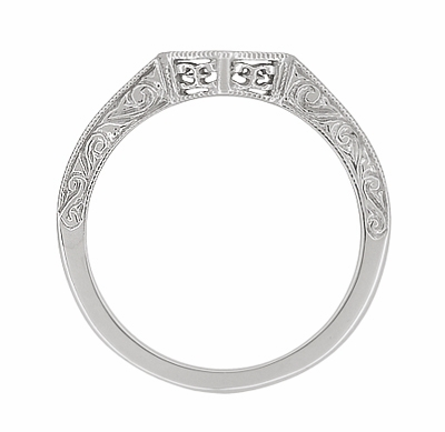 Art Deco Filigree Scrolls Engraved Contoured Wedding Band in 14 Karat White Gold - Item WR180W - Image 1