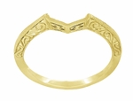 Art Deco Filigree Scrolls Engraved Contoured Wedding Band in 14 Karat Yellow Gold