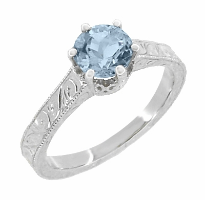 Art Deco Filigree Scrolls Sky Blue Topaz Crown Promise Ring in Sterling Silver - Item SSR199BT - Image 1