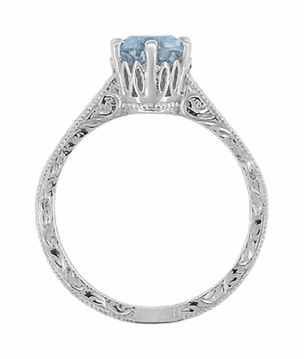 Art Deco Filigree Scrolls Sky Blue Topaz Crown Promise Ring in Sterling Silver - Item SSR199BT - Image 4