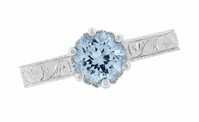 Art Deco Filigree Scrolls Sky Blue Topaz Crown Promise Ring in Sterling Silver - Item SSR199BT - Image 5