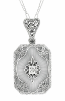 Art Deco Filigree Scrolls Starburst Crystal and Diamond Pendant Necklace in Sterling Silver
