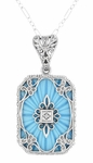 Art Deco Filigree Scrolls Starburst Diamond Set Pendant Necklace in Sterling Silver