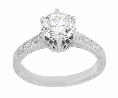 Art Deco Filigree Scrolls Tiara Crown 1.19 Carat Solitaire Diamond Engraved Engagement Ring in 18 Karat White Gold - Item R199WD125 - Image 2